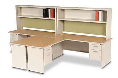 Marvel Pronto 72W x 30D 2 Person 'L' Desks with Return and Pedestal Oak, Putty, Palmetto (762805302627)
