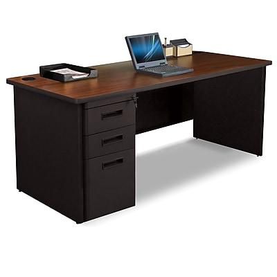Marvel Pronto 72W x 30D Single Full Pedestal Desk, Mahogany, Dark Neutral (762805300753)