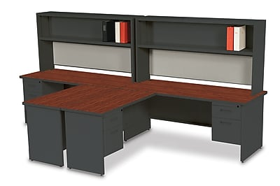 Marvel Pronto 72W x 30D 2 Person 'L' Desks with Return and Pedestal Mahogany, Dark Neutral, Haze (762805302603)