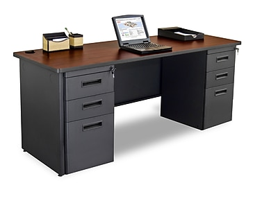 Marvel Pronto 72W x 24D Double Full Pedestal Desk, Mahogany, Dark Neutral (762805256920)