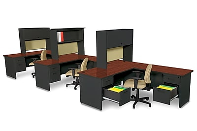 Marvel Pronto 72W x 78D 3 Person Workstation with Returns, Pedestals, Mahogany, Black, Palmetto (762805302184)