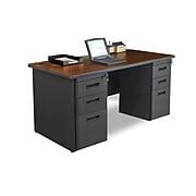 Marvel Pronto 60W x 30D Double Full Pedestal Desk, Mahogany, Dark Neutral (762805300555)