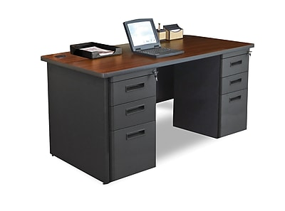 Marvel Pronto 66W x 30D Double Full Pedestal Desk, Mahogany, Dark Neutral (762805300630)