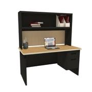 Marvel Pronto 72W x 30D Single File Desk with Storage Shelf, Oak, Black, Palmetto (762805302351)
