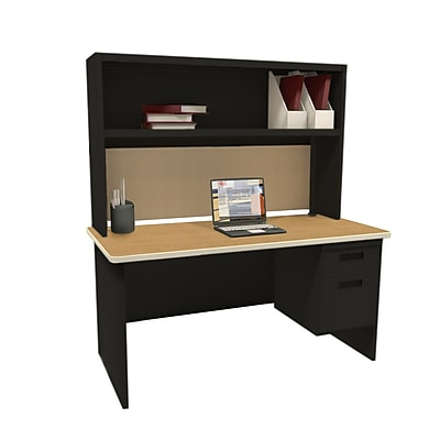 "Marvel Pronto 60""W x 30""D Single File Desk with Storage Shelf, Oak, Black, Palmetto (762805302351)"