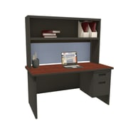 Marvel Pronto 72W x 30D Single File Desk with Storage Shelf, Oak, Black, Windblown (762805302375)