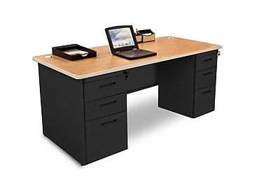 Marvel Pronto 66W x 30D Double Full Pedestal Desk, Oak, Black (762805300623)