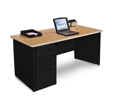 Marvel Pronto 60W x 30D Single Full Pedestal Desk, Oak, Black (762805300586)