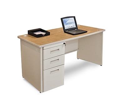 Marvel Pronto 48W x 30D Single Full Pedestal Desk, Oak, Putty (762805300524)