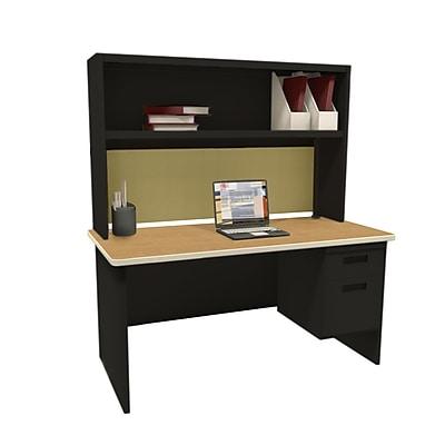 "Marvel Pronto 60""W x 30""D Single File Desk with Storage Shelf, Mahogany, Black, Haze (762805302382)"