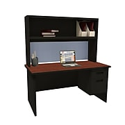 "Marvel Pronto 60""W x 30""D Single File Desk with Storage Shelf, Mahogany, Dark Neutral, Basin (762805302450)"