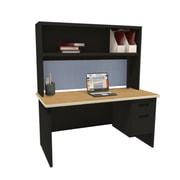 Marvel Pronto 72W x 30D Single File Desk with Storage Shelf, Oak, Black, Basin (762805302412)