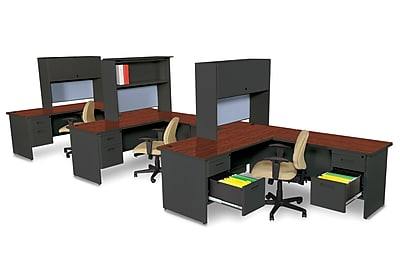 Marvel Pronto 72W x 78D 3 Person Workstation with Returns, Pedestals, Mahogany, Dark Neutral, Basin (762805302290)