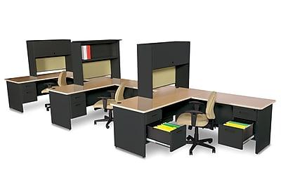 Marvel Pronto 72W x 78D 3 Person Workstation with Returns, Pedestals, Oak, Black, Palmetto (762805302221)
