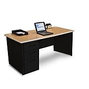 Marvel Pronto 66W x 30D Single Full Pedestal Desk, Oak, Black (762805300661)