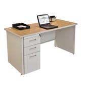 Marvel Pronto 60W x 24D Single Full Pedestal Desk, Oak, Putty (762805256890)