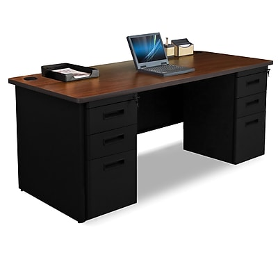 Marvel Pronto 72W x 30D Double Full Pedestal Desk, Mahogany, Black (762805300692)