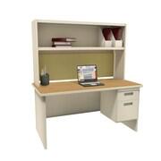 Marvel Pronto 72W x 30D Single File Desk with Storage Shelf, Oak, Putty, Palmetto (762805302467)