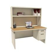 Marvel Pronto 72W x 30D Single File Desk with Storage Shelf, Oak, Putty, Windblown (762805302474)