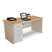 Marvel Pronto 66W x 30D Single Full Pedestal Desk, Oak, Putty (762805300685)