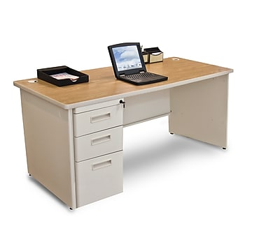 Marvel Pronto 66W x 30D Single Full Pedestal Desk, Oak, Putty (762805300685)