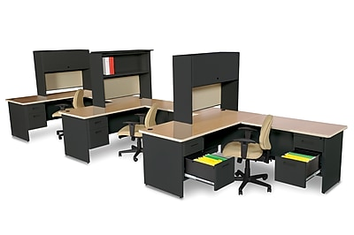 Marvel Pronto 72W x 78D 3 Person Workstation with Returns, Pedestals, Oak, Black, Haze (762805302245)