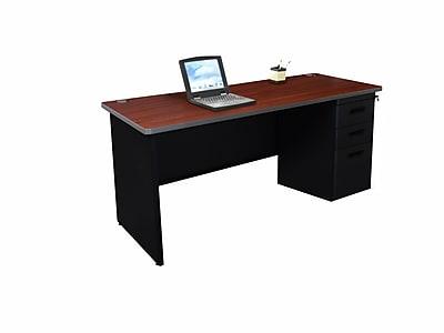 Marvel Pronto 60W x 24D Single Full Pedestal Desk, Mahogany, Black (762805256869)