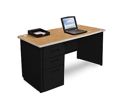 Marvel Pronto 48W x 30D Single Full Pedestal Desk, Oak, Black (762805300500)