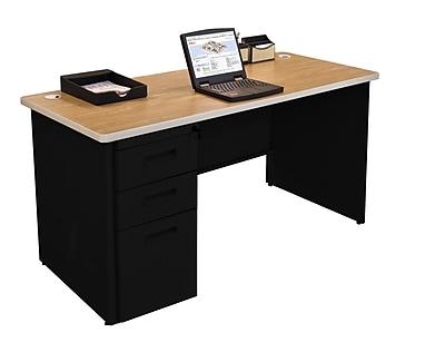 Marvel Pronto 60W x 24D Single Full Pedestal Desk, Oak, Black (762805256876)