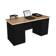 Marvel Pronto 60W x 24D Double Full Pedestal Desk, Oak, Black (762805256838)