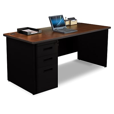 Marvel Pronto 66W x 30D Single Full Pedestal Desk, Mahogany, Black (762805300654)