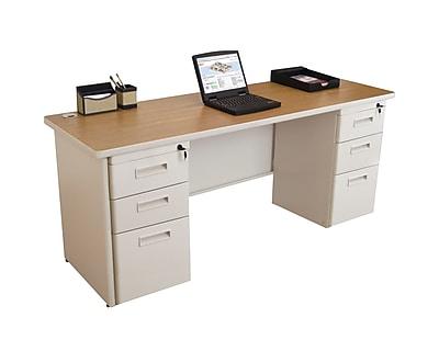 Marvel Pronto 72W x 24D Double Full Pedestal Desk, Oak, Putty (762805256937)
