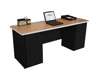 Marvel Pronto 72W x 24D Double Full Pedestal Desk, Oak, Black (762805256913)