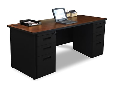Marvel Pronto 72W x 36D Double Full Pedestal Desk, Mahogany, Black (762805300777)