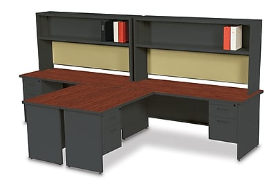 Marvel Pronto 72W x 30D 2 Person 'L' Desks with Return and Pedestal Mahogany, Dark Neutral, Palmetto (762805302580)