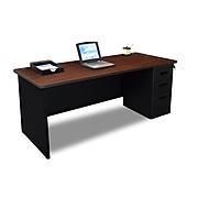 Marvel Pronto 72W x 36D Single Full Pedestal Desk, Mahogany, Black (762805300814)