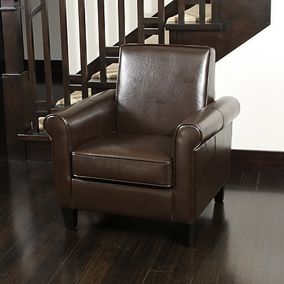 Noble House Ashley Bonded Leather Club Chair Chocolate Brown Single (218704)