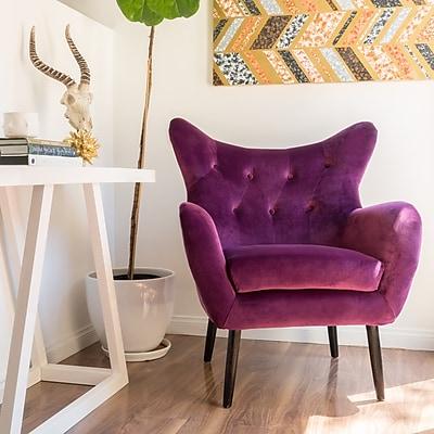 Noble House Peck New Velvet Side Chair Fuchsia Single (298851)