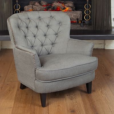 Noble House Audrey Fabric Club Chair Grey Single (211607)