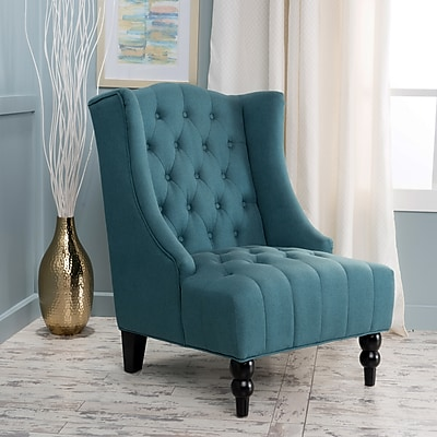 Noble House Tall Fabric Club Chair Dark Teal Single (299588)