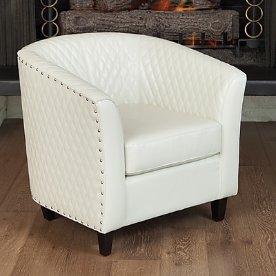 Noble House Bowman Bonded Leather Side Chair Ivory Single (218763)