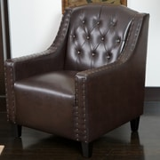 Noble House Carlson Bonded Leather Club Chair Brown Single (229678)