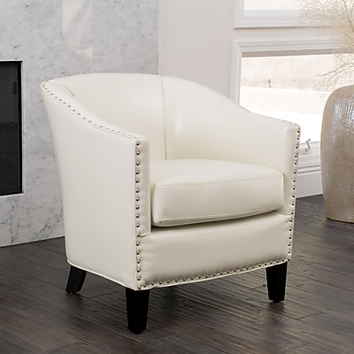 Noble House Roseanne Bonded Leather Club Chair Ivory Single (260822)