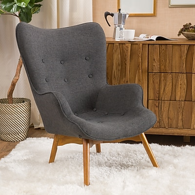 Noble House Barker Fabric Side Chair Muted Dark Gray Single (297014)