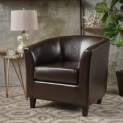 Noble House Florette Bonded Leather Club Chair Brown Single (219874)