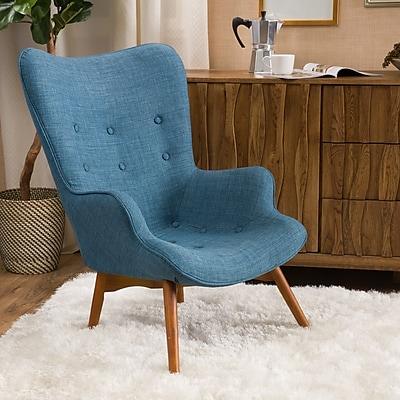 Noble House Barker Fabric Side Chair Muted Blue Single (297013)