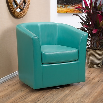 Noble House Poole Bonded Leather Club Chair Turquoise Single (296641)
