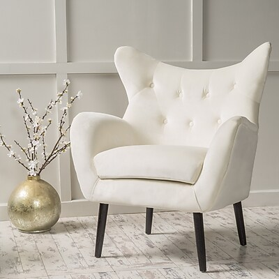 Noble House Peck New Velvet Side Chair Ivory Single (298852)