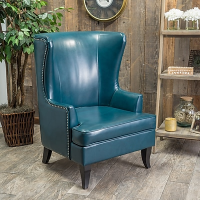 Noble House Ian Bonded Leather Side Chair Teal Single (295411)