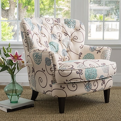 Noble House Audrey Fabric Club Chair White + Blue Single (299126)